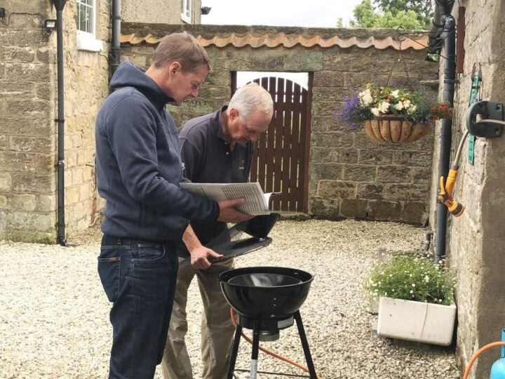 1st of August - Swiss national day (and also Yorkshire day!):  Thomas and Daniel prepare the BBQ...