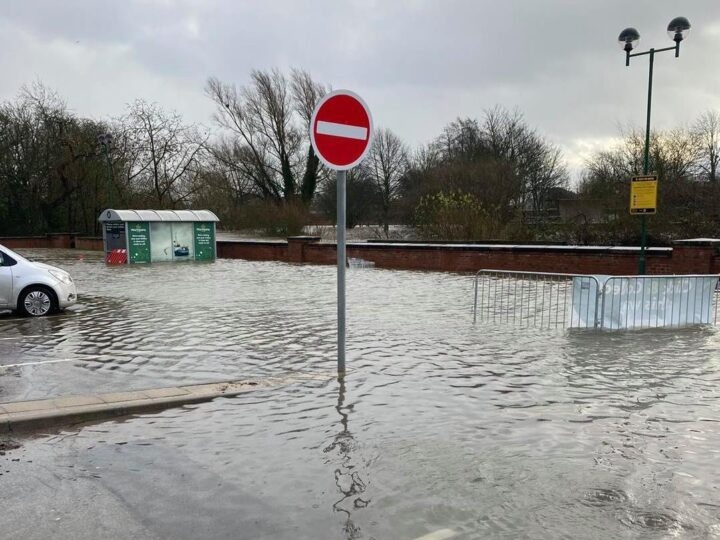 ...led to flooding in lower areas (car park at Morrisons / Malton).