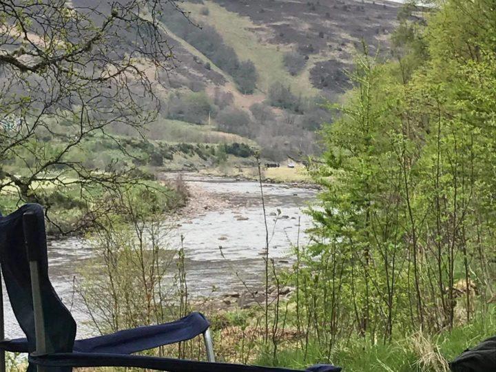 ...diagonally through the river...