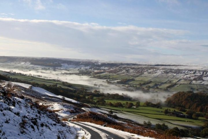 2 days later: Snow over night shows Farndale quite wintry.