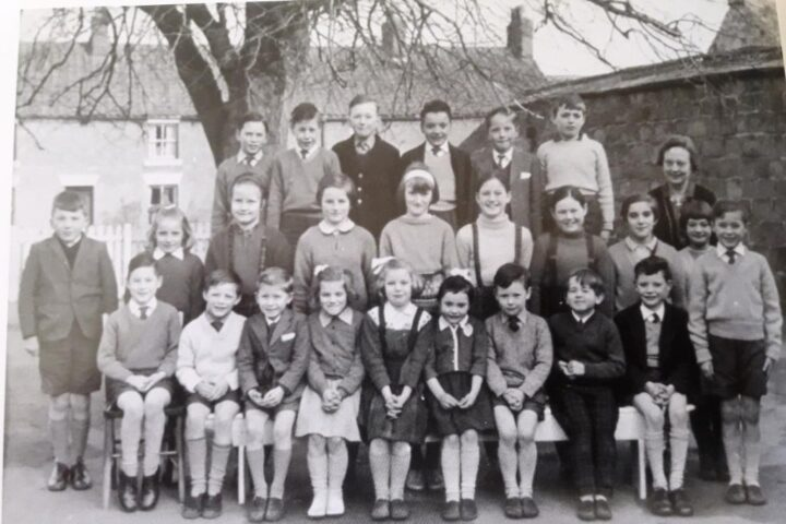 """He writes that he has """"happy memories of living at Whitethorn and going to school at Lockton""""... (photo """"Lockton School in 1960's"""" published 2006 in """"Lockton & Levisham Heritage"""")..."""
