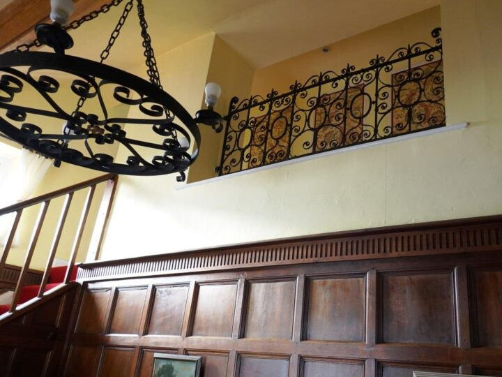 """The writer also remembers """"the wooden panneling in the hall of Whitethorn. My grandfather bought it from a stately home that was pulled down in Cumbria and the wrought iron panels came from a church in Peterbourough.""""  In 2021 it still exists!"""