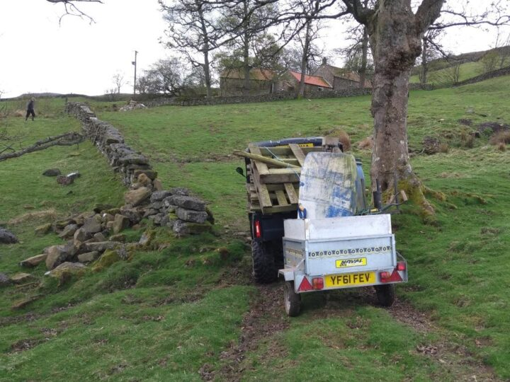 ...Workparty in Farndale: It was not easy to bring the feeders to the right place....